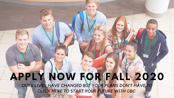 Apply now for Fall 2020 graphic.