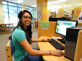 GBC Student at the Library graphic.