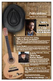 Enjoy Three Cowboy Poetry Events at GBC January 31 graphic.